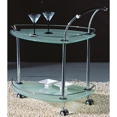 Chintaly Imports Serving Cart with Glass Top
