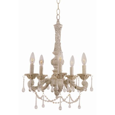 TransGlobe Lighting Crystal Flair 5 Light Mini Chandelier with Crystal Accents