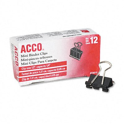 "Acco Brands, Inc. Mini Binder Clips, Steel Wire, 1/4"" Capacity, 12/Pack"