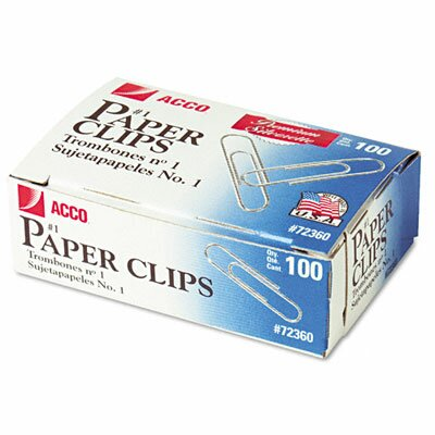 Acco Brands, Inc. Smooth Finish Premium Paper Clips, Wire, No. 1, Silver, 100/Box, 10 Bxs/Pk