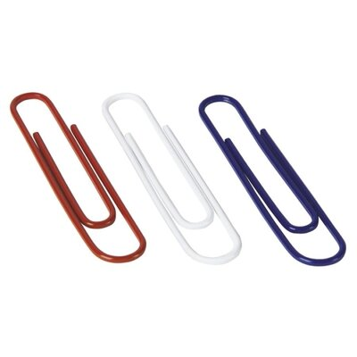 Acco Brands, Inc. Paper Clips, Jumbo, 150/Box, Nylon Coating, Assorted