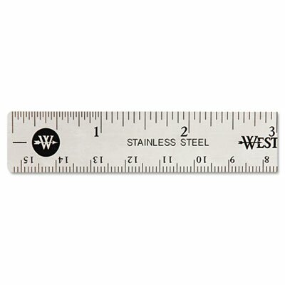 """Acme United Corporation Westcott Stainless Steel office Ruler with Non Slip Cork Base, 6"""""""