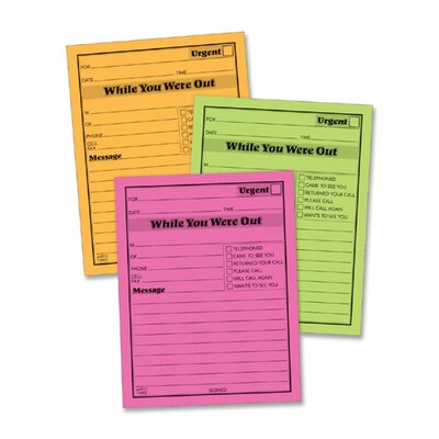 """Adams Business Forms Message Pad, """"While You Where Out"""", 4""""x5"""", 6 per Pack, Neon Assorted"""