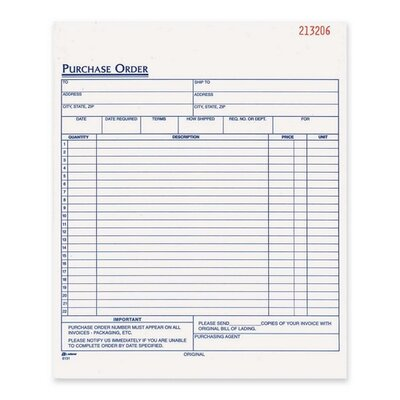 """Adams Business Forms Purchase Order Book, Carbonless, 3-Part, 8-3/8""""x10-11/16"""", White"""