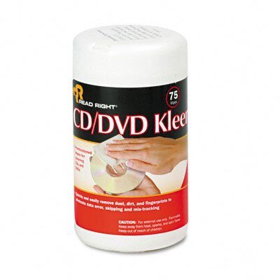 Advantus Corp. CD/DVD Kleen Cleaner Wet Wipes, 5-1/4 x 5-3/4, 75/Tub
