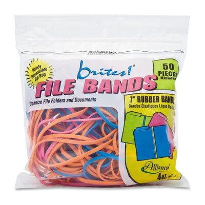 """Alliance Rubber File Bands, 7""""x1/8"""", 50/BG, Assorted"""