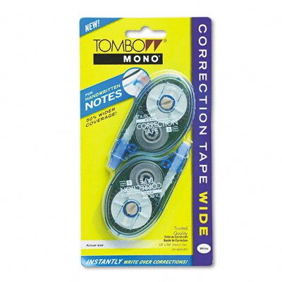 """Tombow Mono Wide Width Correction Tape, Non-Refillable, 1/4"""" x 394"""", White, Two/pack"""