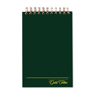 AMPAD Corporation Gold Fibre Spiral Steno Book, Gregg Rule, 6 x 9, White/GN, 100 Sheets/Pad