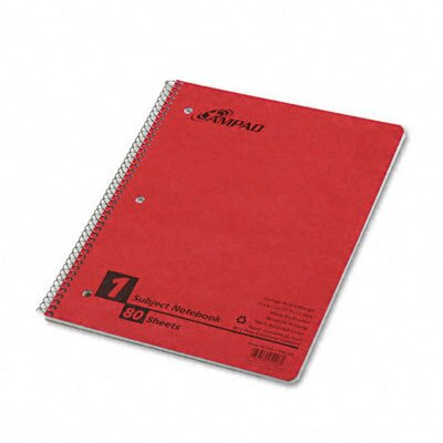 AMPAD Corporation Wirelock Subject Notebook, College/Med Rule, Letter, White, 80 Sheets/pad