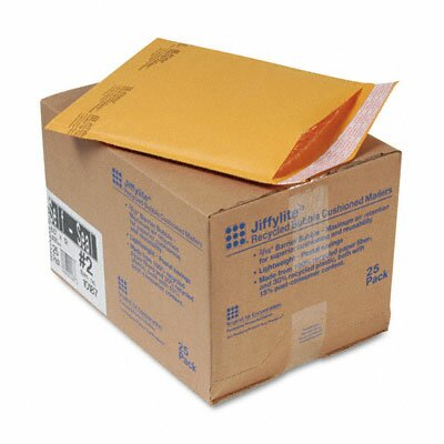 Sealed Air Corporation Jiffylite Self-Seal Mailer, Side Seam, #2, Golden Brown, 25/carton