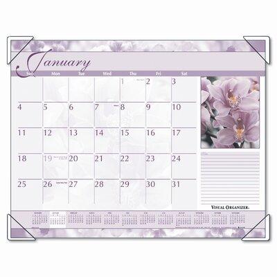 At-A-Glance Antique Floral Color Photographic Monthly Desk Pad Calendar, 22 x 17, 2013