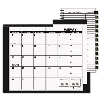 At-A-Glance Deluxe Monthly Pocket Planner, Unruled, 3-1/2 x 6-1/8, Black, 2016