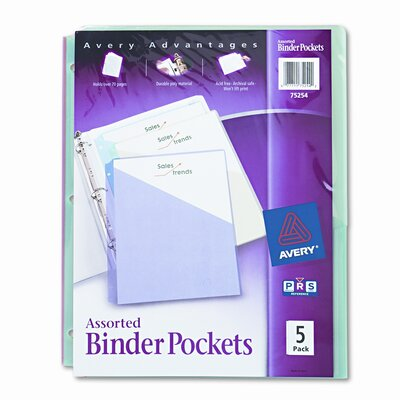 Avery Consumer Products Ring Binder Polypropylene Pockets, 5 Pockets/Pack