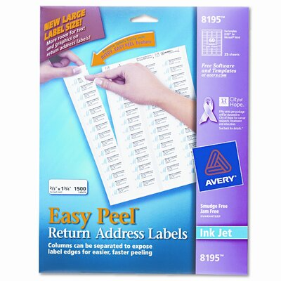 Avery Consumer Products Easy Peel Inkjet Return Address Labels, 1500/Pack