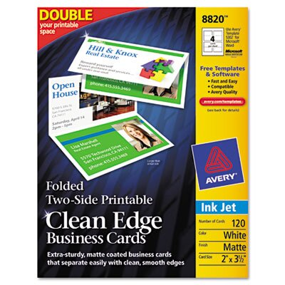 Avery Consumer Products Clean Edge Inkjet Business Cards, 120/Pack