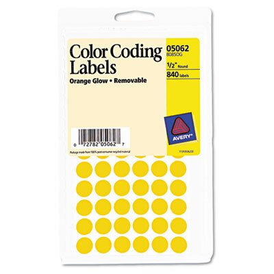 Avery Consumer Products Removable Self-Adhesive Color-Coding Labels, 840/Pack