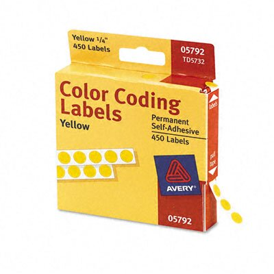 Avery Consumer Products Permanent Self-Adhesive Color-Coding Labels, 450/Pack