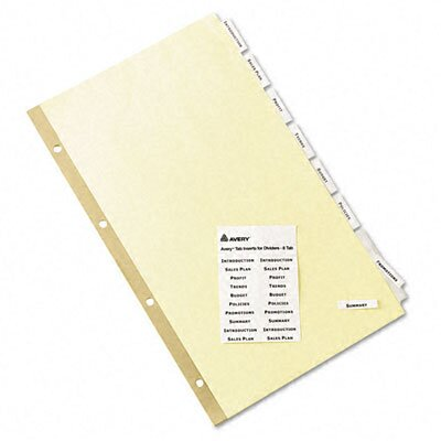 Avery Consumer Products Worksaver Insertable Tab Index Dividers (8 Tabs, 8 Sets/ Box)