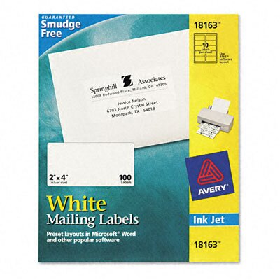 Avery Consumer Products Shipping Labels 2 x 4 (100/Pack)