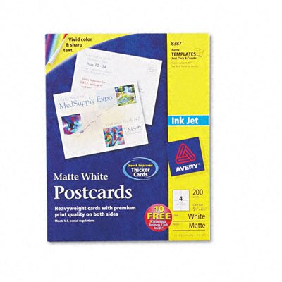Avery Consumer Products 8387 Inkjet-Compatible Postcards (200 Cards/Box)