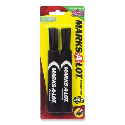 Avery Consumer Products Permanent Ink Marker, Regular, Chisel Point, 2/PK, Black