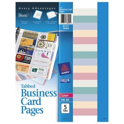 Avery Consumer Products Tabbed Business Card Binder Page, 20 2 x 3-1/2 Cards/Page, Clear, 5 Pages/Pack