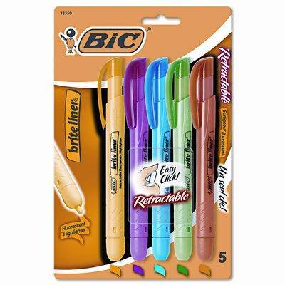 Bic Corporation Chisel Tip Brite Liner Retractable Highlighter (5/Set)