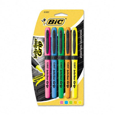 Bic Corporation Brite Liner Grip Highlighter, Chisel Tip, Five Fluorescent Colors per Set