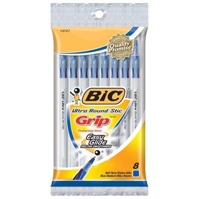 Bic Corporation Round Stic Pen,Comfort Grip,Nonrefillable,Med Point,8/PK,BE