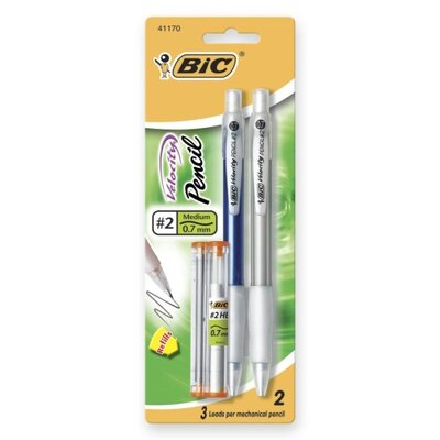 Bic Corporation Mechanical Pencil,Refillable,Rubbergrip,.7mm,2/PK,Assorted