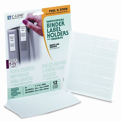 "C-Line Products, Inc. Self-Adhesive Ring Binder Labels for 1-1/2"" Binders, 3/4 x 2 1/2, Clear, 12/Pack"