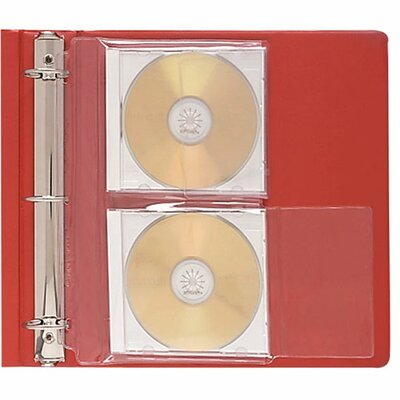 C-Line Products, Inc. CD Jewel Case Ring Binder Storage Pages, 2 CDs/Case, 10 per Pack, Clear
