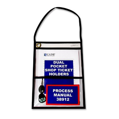 """C-Line Products, Inc. Shop Ticket Holders, w/ Hanging Strap, 9""""x12"""", 15 per Pack, Clear"""