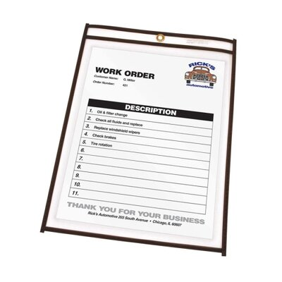 "C-Line Products, Inc. Shop Ticket Holder, Stitched, 4""x6"", 25 per Box, Clear Vinyl"