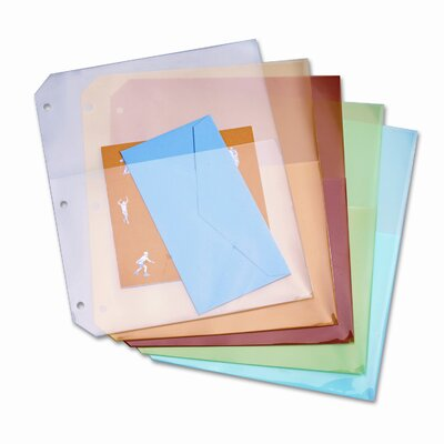 Cardinal Brands, Inc Ring Binder Poly Pockets, 8-1/2 x 11, Assorted Colors, Five per Pack