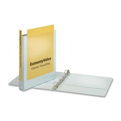 """Cardinal Brands, Inc EconomyValue ClearVue Round-Ring Binders, Non-locking, 1"""" Capacity, White"""