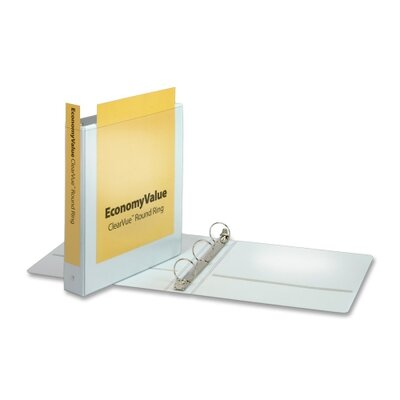 """Cardinal Brands, Inc EconomyValue ClearVue Round-Ring Binders, Non-locking, 1-1/2"""" Capacity, White"""
