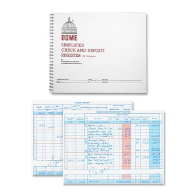 """Dome Publishing Company, Inc. Check/Deposit Register, 50 Pages, 10-1/4""""x8-1/2"""", Gray"""