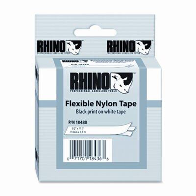 "Dymo Corporation Rhino Flexible Nylon Industrial Label Tape Cassette, 0.5"" x 11.5'"