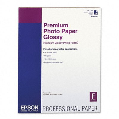 "Epson America Inc. High-Gloss Premium Photo Paper, 17"" x 22"", 25 Sheets/Pack"