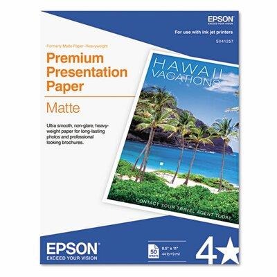 Epson America Inc. S041257 Heavyweight Matte White Inkjet Paper, 97 Brightness, 45lb, Letter, 50 Sheets