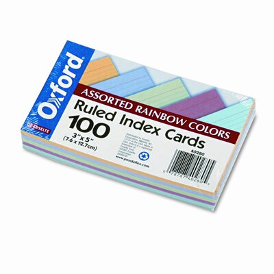 Esselte Pendaflex Corporation Ruled Index Cards, 3 x 5, Blue/Violet/Canary/Green/Cherry, 100 per Pack