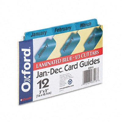 Esselte Pendaflex Corporation Oxford Laminated Index Card Guides, Monthly, 1/3 Tab, 3 X 5