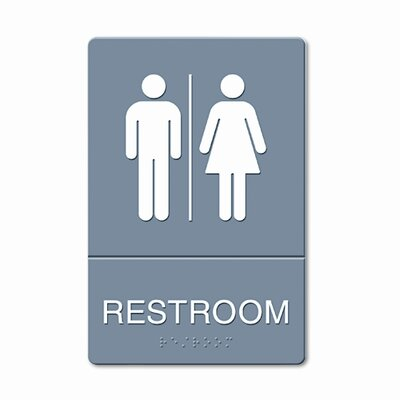 GBC® ADA Restroom Sign, Large Restroom Symbol Tactile Graphic, Molded Plastic, 6 x 9