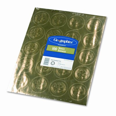 """GEOGRAPHICS Gold Foil Embossed """"Official Seal of Excellence"""" Seals, 100/Pack"""