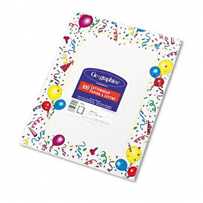 GEOGRAPHICS Design Paper, 24 Lbs., Party, 100/Pack