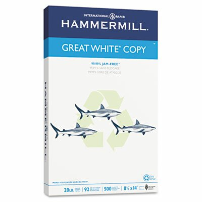 Hammermill Great White Recycled Copy Paper, 92 Brightness, 20Lb, 500 Shts/Ream