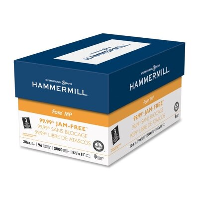 """Hammermill Jam-Free Fore DP Paper, 20Lb, 3-Hole, 8-1/2""""x11"""", 96 GE/112 ISO, 10/CT, WE"""