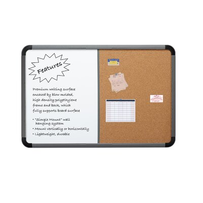 Iceberg Enterprises Combo Dry Erase/Fabric Wall Mounted Combination Board, 2' x 3'