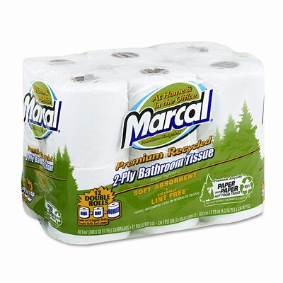 Marcal Paper Mills, Inc. Small Steps 100% Recycled 2-Ply Toilet Paper - 336 Sheets per Roll / 12 Rolls